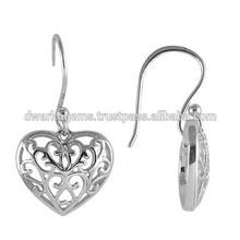Heart Shaped Silver Earrings