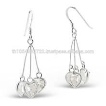 Chandelier Heart Cut Cluster Long Chian Dangle Sterling Silver Free Fashion Women Ear Piercing Hook Earring Studs Wholesale