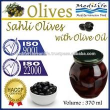 High Quality 100% Tunisian Table Olives. Black Olives,Sahli Olives with Olive Oil, Natural Sahli Olives with Olive Oil. 370 ml G