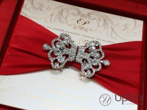 Red Silk Wedding Invitation Box With Rhinestone Brooch And