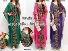 Fashion emboridery chiffon muslim dress islamic long kaftans stock available muslim woman clothing Dubai abaya