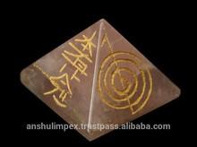 Rose Quartz Reiki Pyramid for healing and metaphysical use
