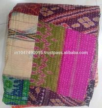Vintage Ikat Patola Silk Sari Kantha Quilt Patchwork Throw Ralli Gudari Bedcover bedding set king size quilt