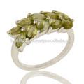 Natural peridot gemstone marquise do anel, pino de ajuste fino de prata anel de cluster de jóias