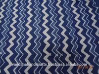 Va054 Stripe Design Blue and White Indian Hand Printed Fabric