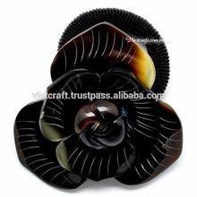 Flower shape design horn and lacquer human hair ponytail holder for Girls