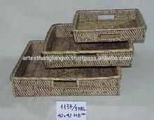 Artex Thang Long - Square grey rattan bamboo tea serving trays Vietnam handicraft wholesale (set of 3)