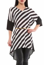 blouses and tunics with black and white stripes for women