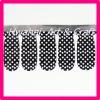 Black and white printed polka dot nail sticker