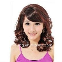 Capless Top Grade Quality Kanekalon Fashion Pretty Mid Long Curly Wig