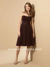 BD-B139 Chocolate Strapless Chiffon Hot Sale Sexy Short Bridesmaid Dress 2012