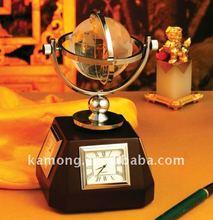 Optical glass classics elegant desk crystal globe clock