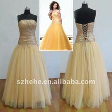 Real sample RE049 fabulous corset taffeta and tulle yellow prom dress