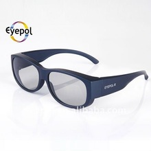 Circular polarized over 3d glasses coverd 3d glass