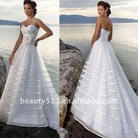 Strapless A line White Beach Wedding Dress 2012 AS105