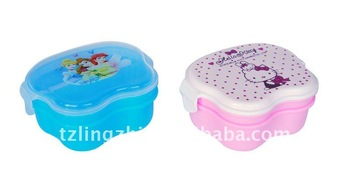 cartoon kids plastic lunch box,with spoon and forks