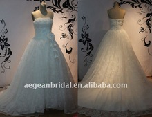 AE21148 Latest romantic strapless beaded handmade flowers appliqued lace&organza empire wedding dresses 2012
