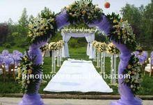 Purple snow organza wedding door curtain and organza chair sash for wedding decoration