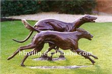 saluki statue two bronze dogs