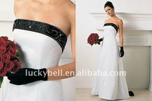 Beautiful Ankle-Length White and black Wedding Dress