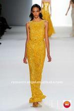 2012 new style elie saab yellow shining beads evening dress