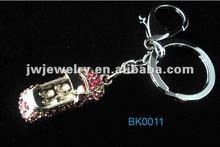 2012 hot sale zinc alloy 3D car shaped keychain with rhinestone