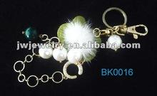 2012 hot sale beads/chain fringe/flower keychain,multi pendant keychain
