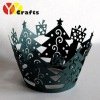 hot sell laser cut Christmas tree paper cupcake decorations