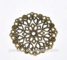 Bronze Tone Filigree Flower Wraps Connectors 35mm