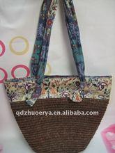 Thailand style straw handbag with bus card bag