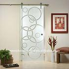 Arc frosted glass sliding partition interior door,barn door hardware for glass door