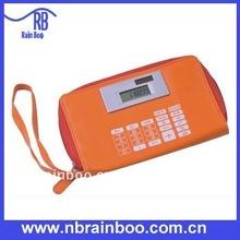 Hot sale folding solar PVC pen bag calculator, wallet calculator