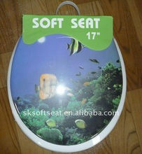 "Image Printed Color Elongated Adult Closed Front Soft Toilet / WC Seat,17"" 18"" 19"" ,Flowery Color Soft Toilet Seat"