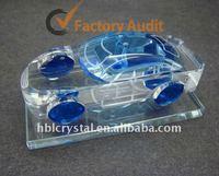 light blue crystal glass car model