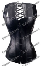 Gothic Black Faux Leather Vest Like Style Corset Latest Style Sexy Lingerie Bustier ,Manufacture Direct,Clubwear Corset Bustier