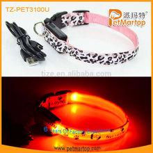 Retractable dog collar with led light TZ-3100U coloful webbing