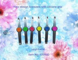 silicon decoration new design slant tip tweezers