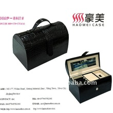 black croco jewelry box with mirror and drawers