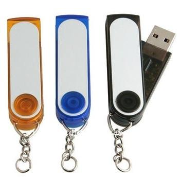 Cheap price OEM plastic swivel USB flash drive with key chain