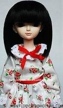 new design BJD long straight black doll wigs