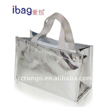 2015 shiny Silver laser lamination non woven bag for promotion and shopping