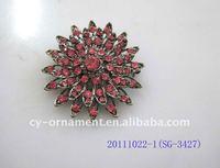 fashion big flower brooch with crystals