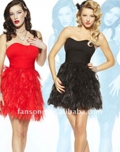 Stylish sweetheart close fitting waist feather cocktail dress