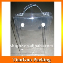Clear pvc ice wine bag with handle for packing