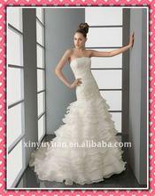 2012 New Arrival Luxury Mermaid Puff fully Skirt Applique Embellished Wedding Dress Bridal Dress AIW-175