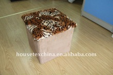 popular in 2011! tiger fur and suede foldable storage ottoman