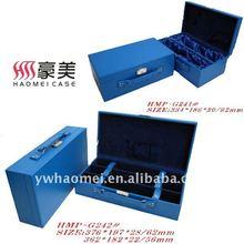 Beauty pu leather twine and triple bottle wine gift box