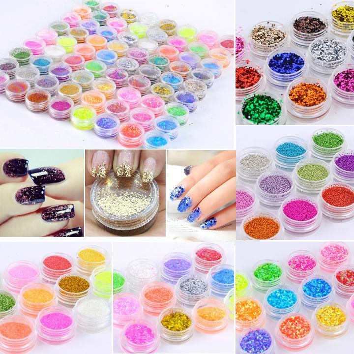 72 Pots 6 Kinds Glitter Decoration Powder Crush Shell Bead Nail Art Make Up 2435