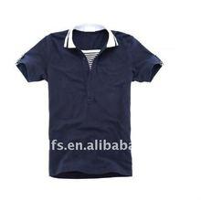 new fashion stripe fake two pieces short sleeve man polo t-shirt