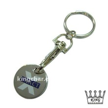 custom logo, nickel plated, stamped iron trolley coin keyholder